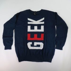 Forever 21 Navy Blue White And Red GEEK Sweater